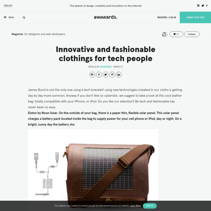 Innovative and fashionable clothings for tech people
