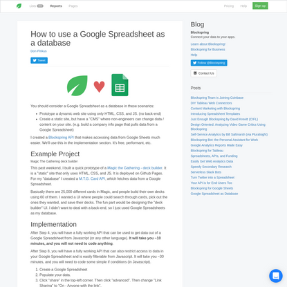 Google Spreadsheet as a Database for Web Applications - Blockspring