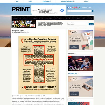 Religious Types - Print Magazine