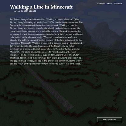 Walking a Line in Minecraft by Jan Robert Leegte on Neverland Space
