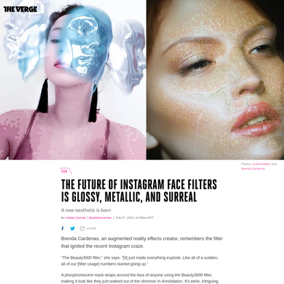 The future of Instagram face filters is glossy, metallic, and surreal