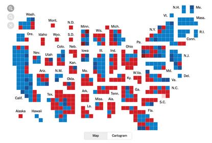 Baller cartogram of the house election results