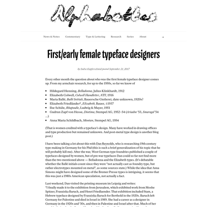 First/early female typeface designers