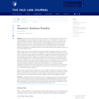 Yale Law Journal - Amazon's Antitrust Paradox