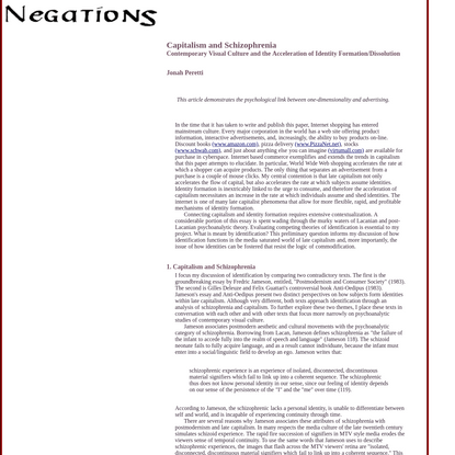 Negations: Capitalism and Schizophrenia