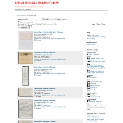 Search Results - Stieglitz/O'Keeffe