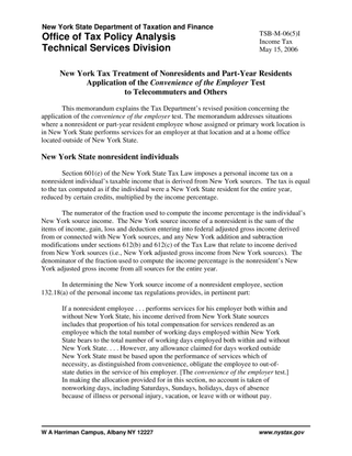 New York Tax Treatment of Nonresidents and Part-Year Residents Application of the Convenience of the Employer Test to Telecommuters and Others