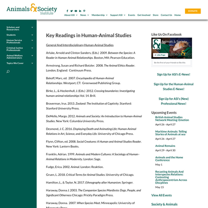 Key Readings in Human-Animal Studies - Welcome to Animals & Society Institute | Ann Arbor Michigan