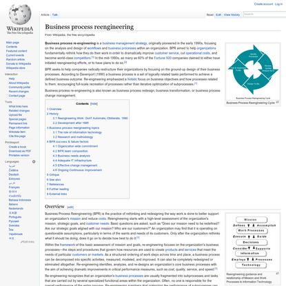 Business process reengineering - Wikipedia, the free encyclopedia