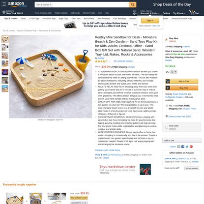 Kenley Mini Sandbox for Desk - Miniature Beach & Zen Garden - Sand Toys Play Kit for Kids, Adults, Desktop, Office - Sand Bo...