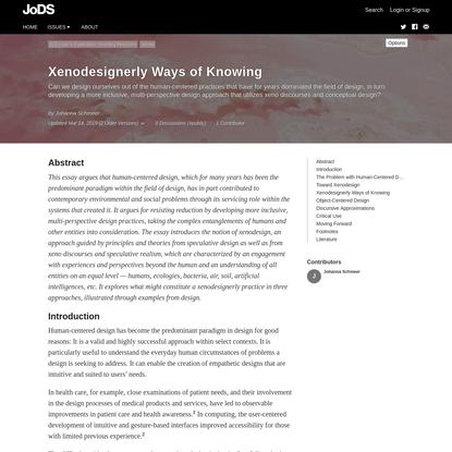 Xenodesignerly Ways of Knowing