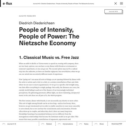 People of Intensity, People of Power: The Nietzsche Economy