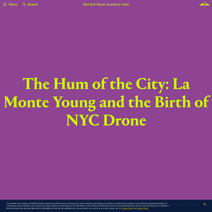 La Monte Young and the Birth of NYC Drone