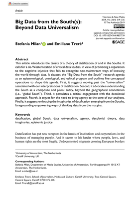 Big Data from the South(s): Beyond Data Universalism - Stefania Milan, Emiliano Treré