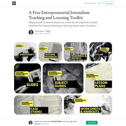 A Free Entrepreneurial Journalism Teaching and Learning Toolkit