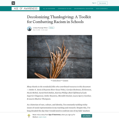 Decolonizing Thanksgiving: A Toolkit for Combatting Racism in Schools