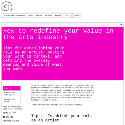 Tips: How to redefine your value in the arts industry