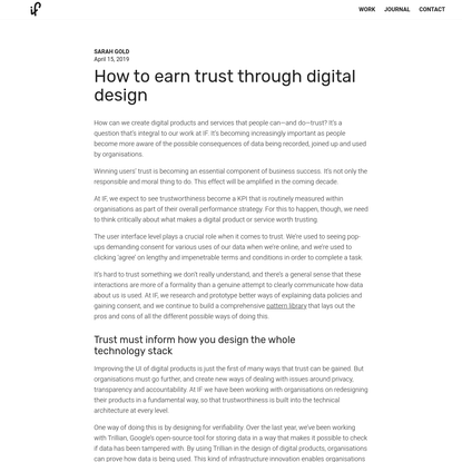 How to earn trust through digital design by Sarah Gold