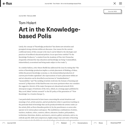 Art in the Knowledge-based Polis