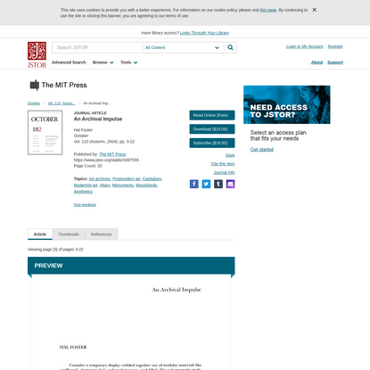 An Archival Impulse on JSTOR