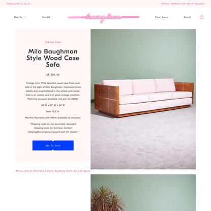 Milo Baughman Style Wood Case Sofa