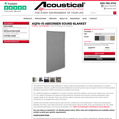 AQFA-10 Absorber Sound Blanket   Acoustical Solutions