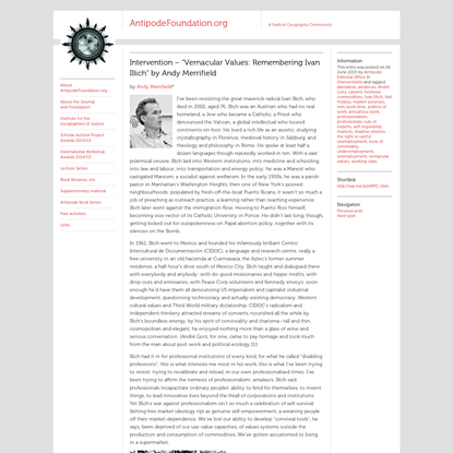 """Intervention - """"Vernacular Values: Remembering Ivan Illich"""" by Andy Merrifield"""