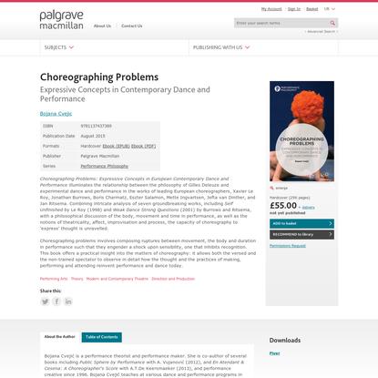 Choreographing Problems - Bojana Cvejic - Palgrave Macmillan