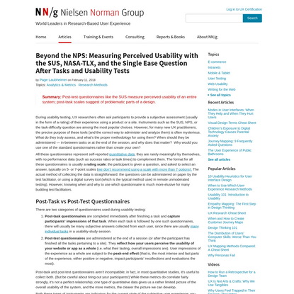 Beyond the NPS: Measuring Perceived Usability with the SUS, NASA-TLX, and the Single Ease Question After Tasks and Usability...