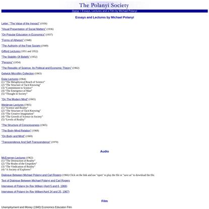 Michael Polanyi Essays