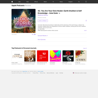 Medicine Stories: 42. You Are Your Own Healer: Earth Intuition & Self Knowledge - Asia Suler on Apple Podcasts