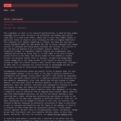 After Cyberpunk :: ingridofcrows - Homepage of Ingrid