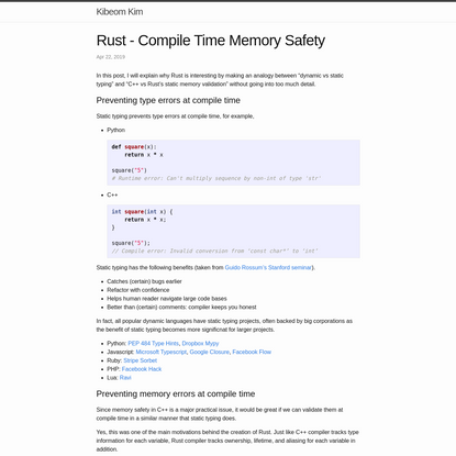 Rust - Compile Time Memory Safety