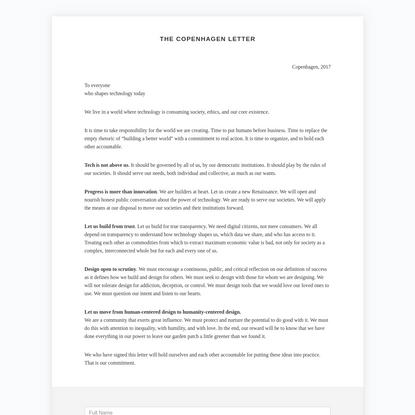 The Copenhagen Letter, 2017