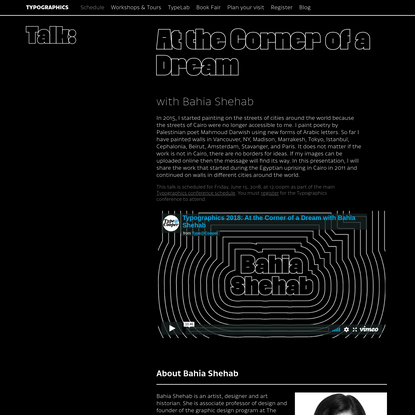 Typographics 2018 - At the Corner of a Dream with Bahia Shehab