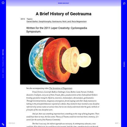 A Brief History of Geotrauma - Robin Mackay