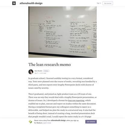 The lean research memo