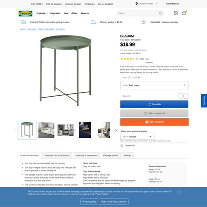 GLADOM Tray table - dark green - IKEA