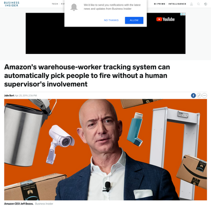 Amazon's warehouse-worker tracking system can automatically pick people to fire without a human supervisor's involvement