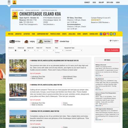Chincoteague Island, Virginia Tent Camping Sites | Chincoteague Island KOA