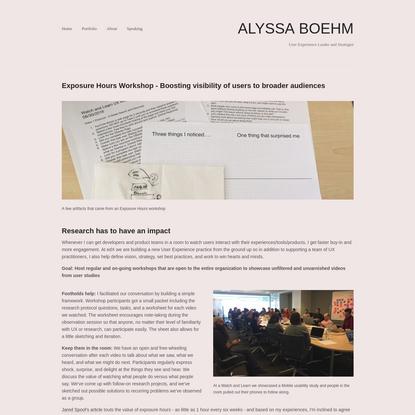 Exposure Hours Workshop - Alyssa Boehm