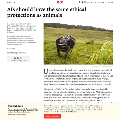 AIs should have the same ethical protections as animals | Aeon