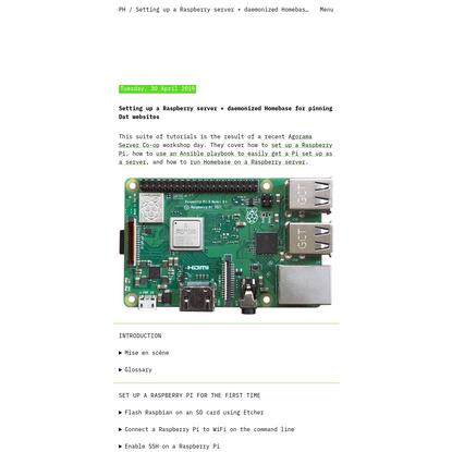 Setting up a Raspberry server + daemonized Homebase for pinning Dat websites - Piper Haywood