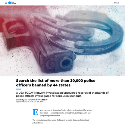Search the list of more than 30,000 police officers banned by 44 states.