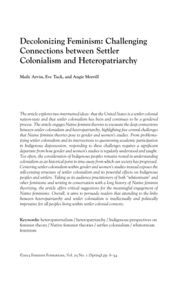 Decolonizing Feminism: Challenging Connections between Settler Colonialism and Heteropatriarchy - Maile Arvin, Eve Tuck, Angie Morrill