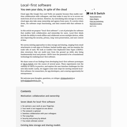 Local-first software: You own your data, in spite of the cloud