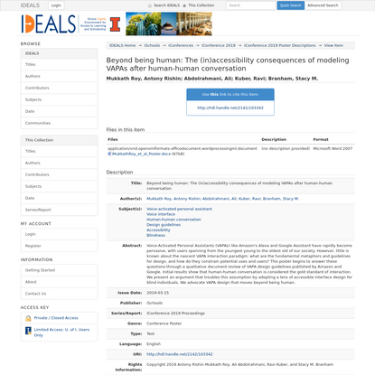 IDEALS @ Illinois: Beyond being human: The (in)accessibility consequences of modeling VAPAs after human-human conversation