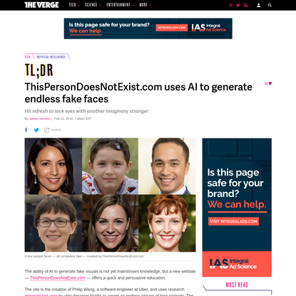 ThisPersonDoesNotExist.com uses AI to generate endless fake faces