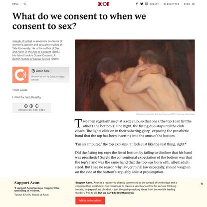 What do we consent to when we consent to sex? - Joseph J Fischel | Aeon Ideas