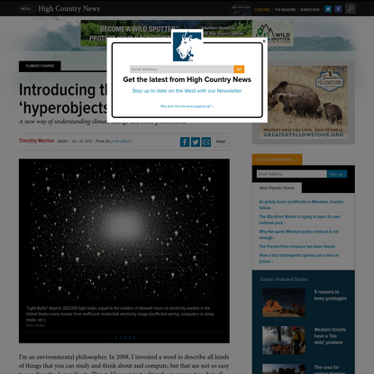 Introducing the idea of 'hyperobjects'